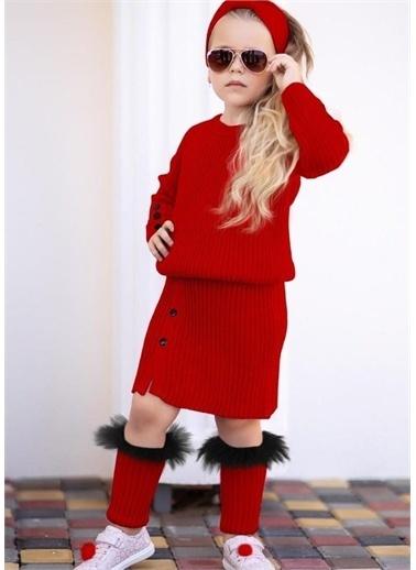 Riccotarz Kız Çocuk Süslü Triko Etekli Takım Kırmızı